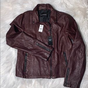 Express Burgundy Minus the Leather Moto Jacket